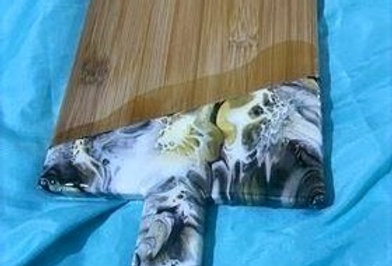 Black Gold and White Bamboo Wood & Resin Serving Board