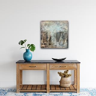 Abstract artwork hanging on wall by Christina Davidsson