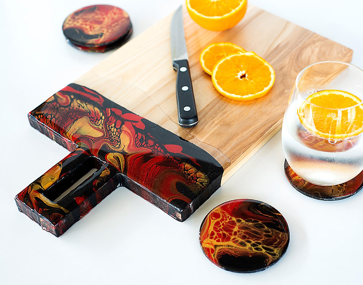 Resin Art Home Decor. Resin and Wooden Serving Board