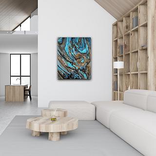 Fluid artwork on wall by Christina Davidsson