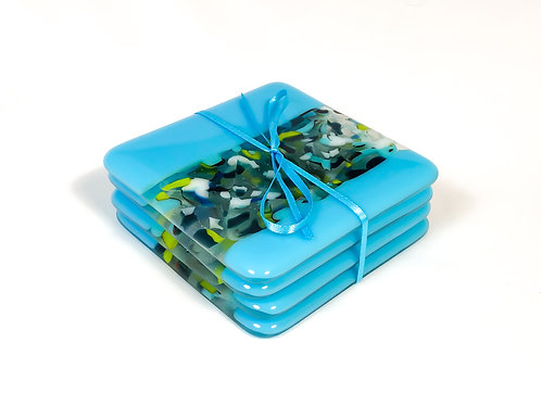 set of 4 coasters, turquoise with pattern bar in greens, white, blues