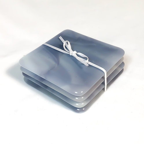 set of 4 coasters, lavender/gray streaky
