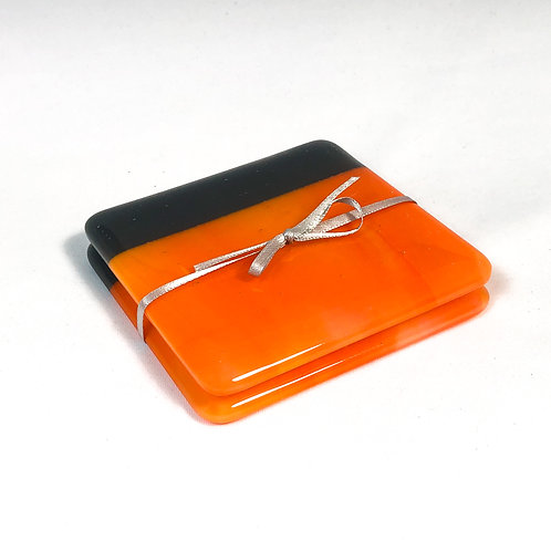 set of 2 coasters, orange with dark gray border