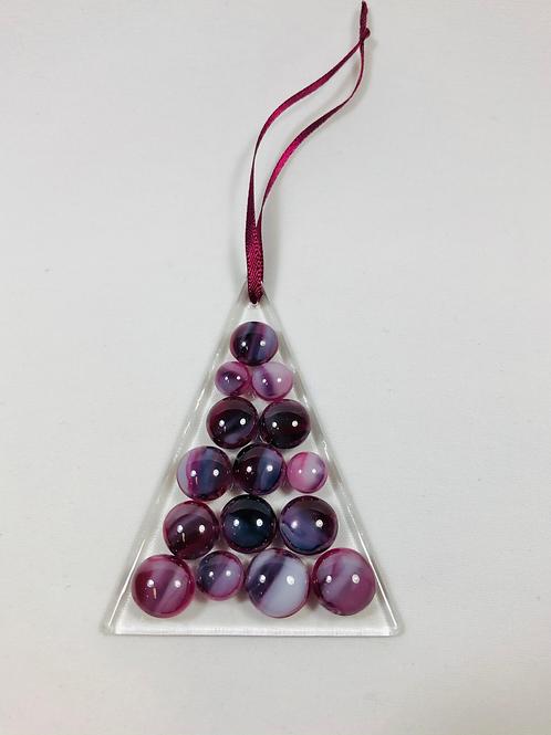Ornament, cranberry/white