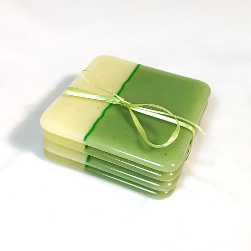 set of 4 coasters, vanilla with mint green