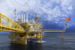 Oil and gas platform or Construction platform in the gulf or the sea, Production process