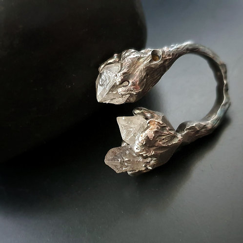 Great Barrier Reef Ring Raw/ Herkimer Diamond