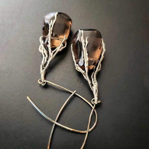 Spellbound with Corals Earrings/ Smoky quartz