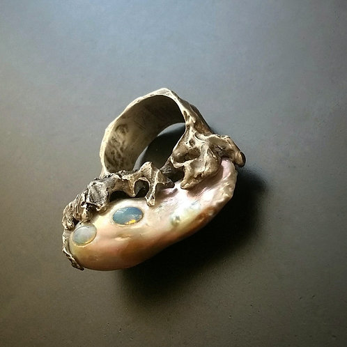 Spellbound with Corals ring/ Pearl & opals