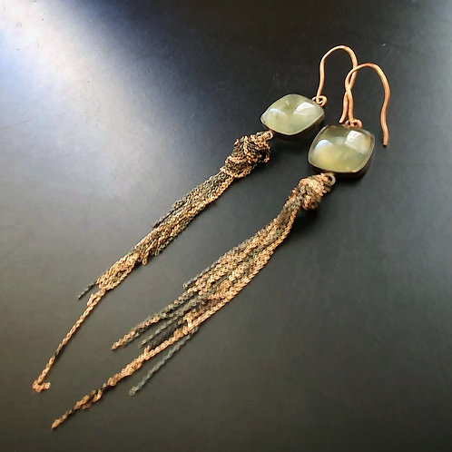 Chained Square Earrings/ Prehnit