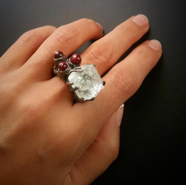 White Beryl & Ruby Ring