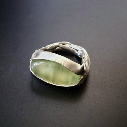 Bareelements Wrapped ring/ Prehnite Oval