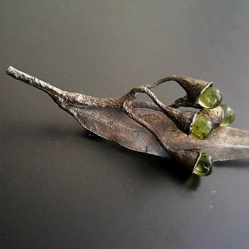 Eucalyptus Brooch /Leafy Peridot