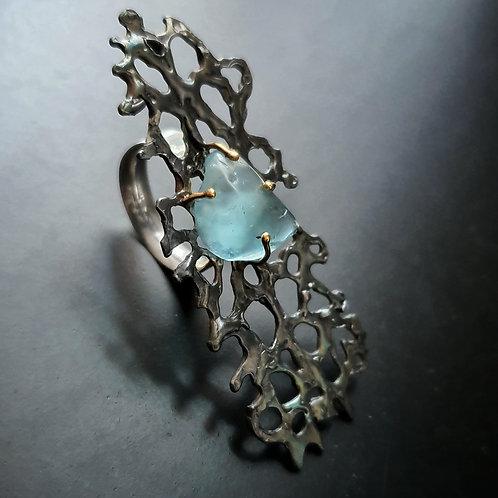 Great Barrier Reef Ring/ Blue Topaz