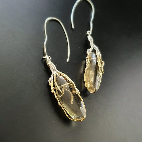 Spellbound with corals Earrings/ Citrine