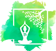 Green-Blue-Yellow shades Logo with Budda under the tree where he was enlightened