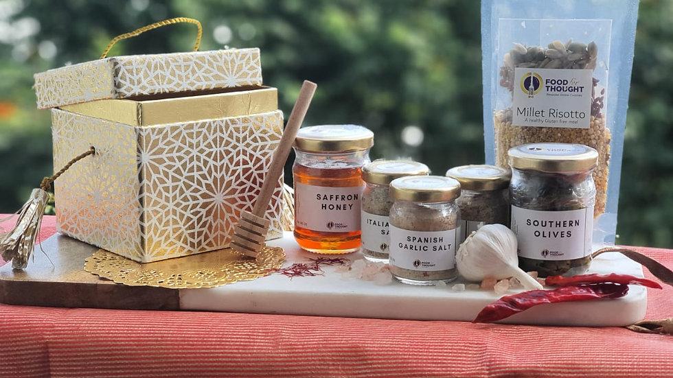3 Salts, Millet Risotto, 1 Jar of Honey, 1 Jar of Olives