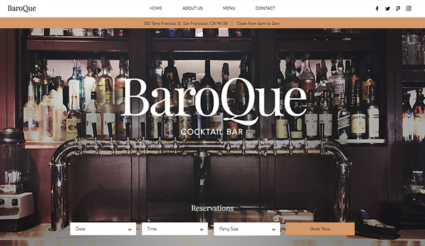 Bary a kluby website templates – Koktejlový bar