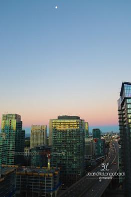 Toronto Sunrise with moon