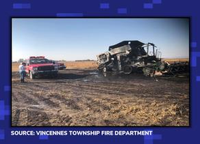 Firefighters Battle Combine Fire