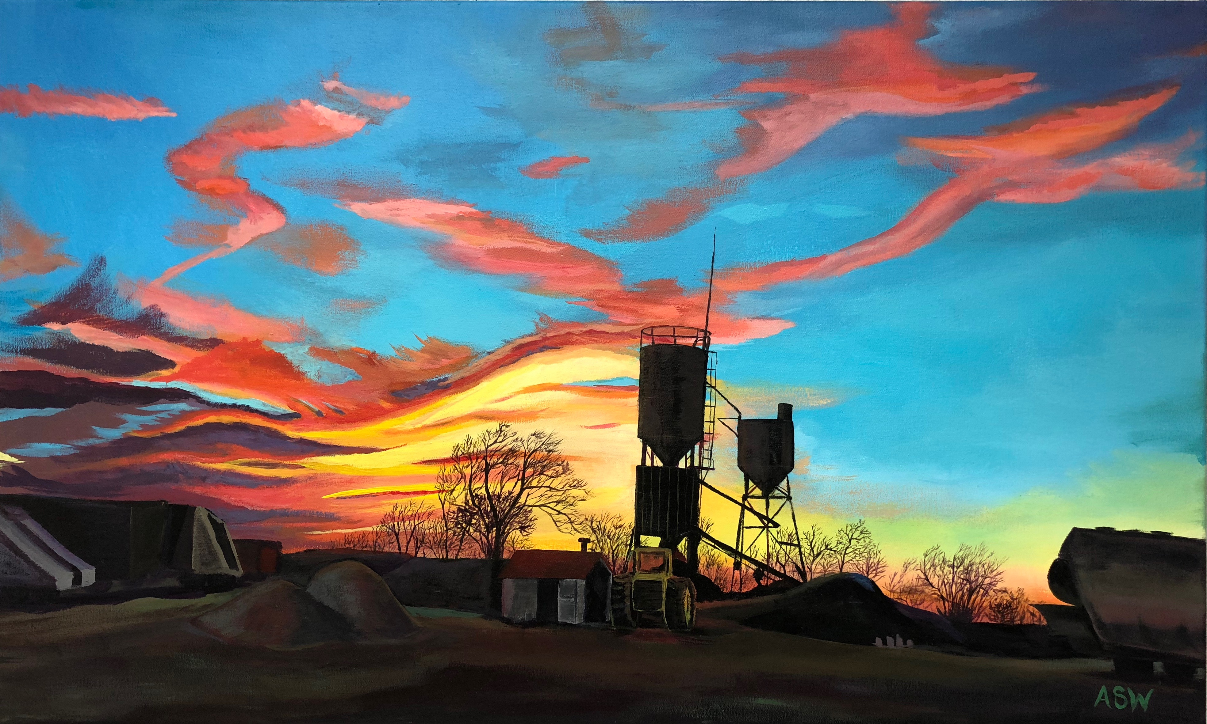 Sunset Over Beloit, 24x40, 2018