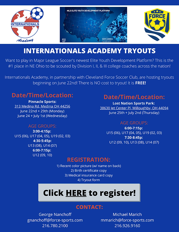 Internationals Academy:Force Tryout Flye