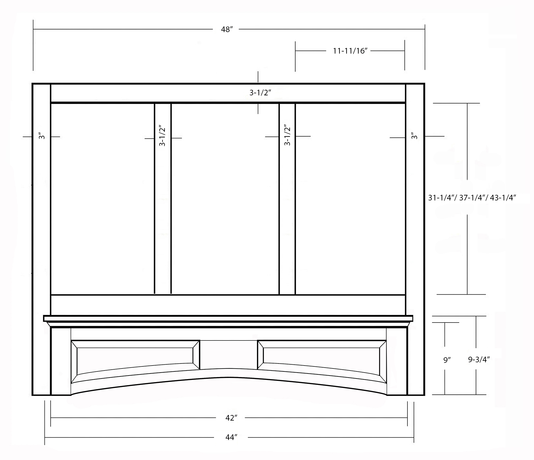 SY-WMHRP (4848W-4854W-4860W) MANTLE HOOD WITH ARCHED RAISED PANEL VALANCE (front view)