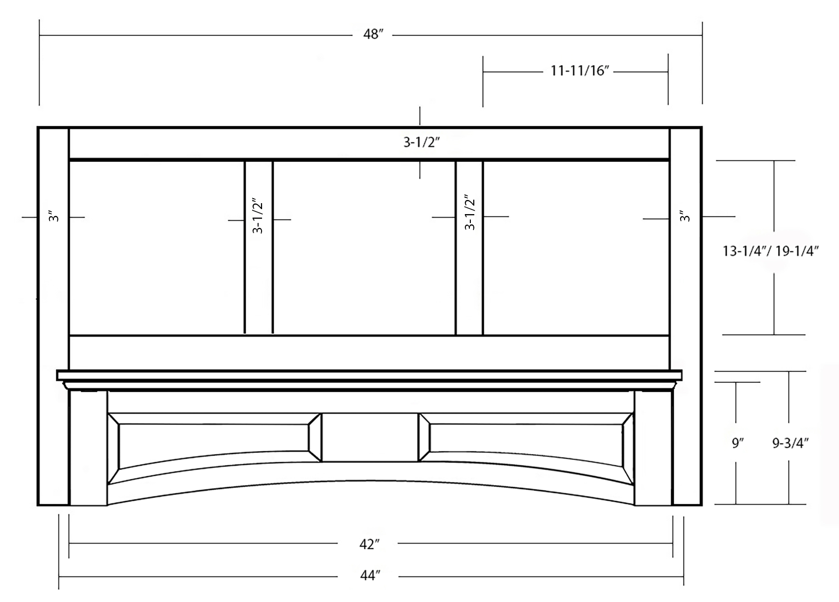 SY-WMHRP 48 MANTLE HOOD WITH ARCHED RAISED PANEL VALANCE (front view)