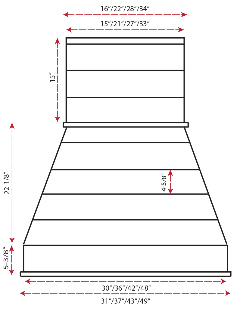 Castlewood Rustic Shiplap Chimney Hood SY-WCSLR (30,36,42,48)- (front view)