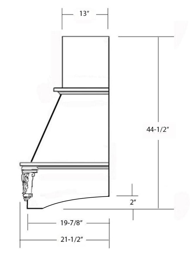 SY-WCHAC WALL HOOD (STANDARD) side view
