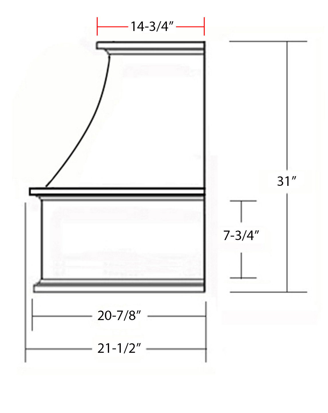 SY-WCVS GOURMET CHIMNEY HOOD (side view)