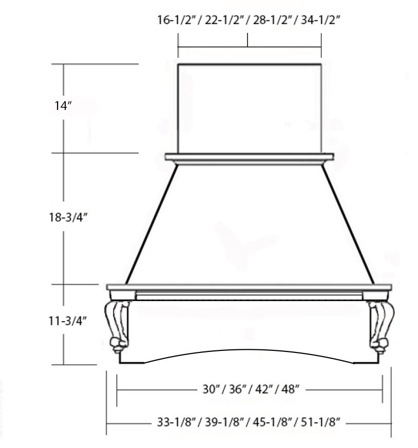 SY-WCHAS ASCENSION CHIMNEY HOOD front view
