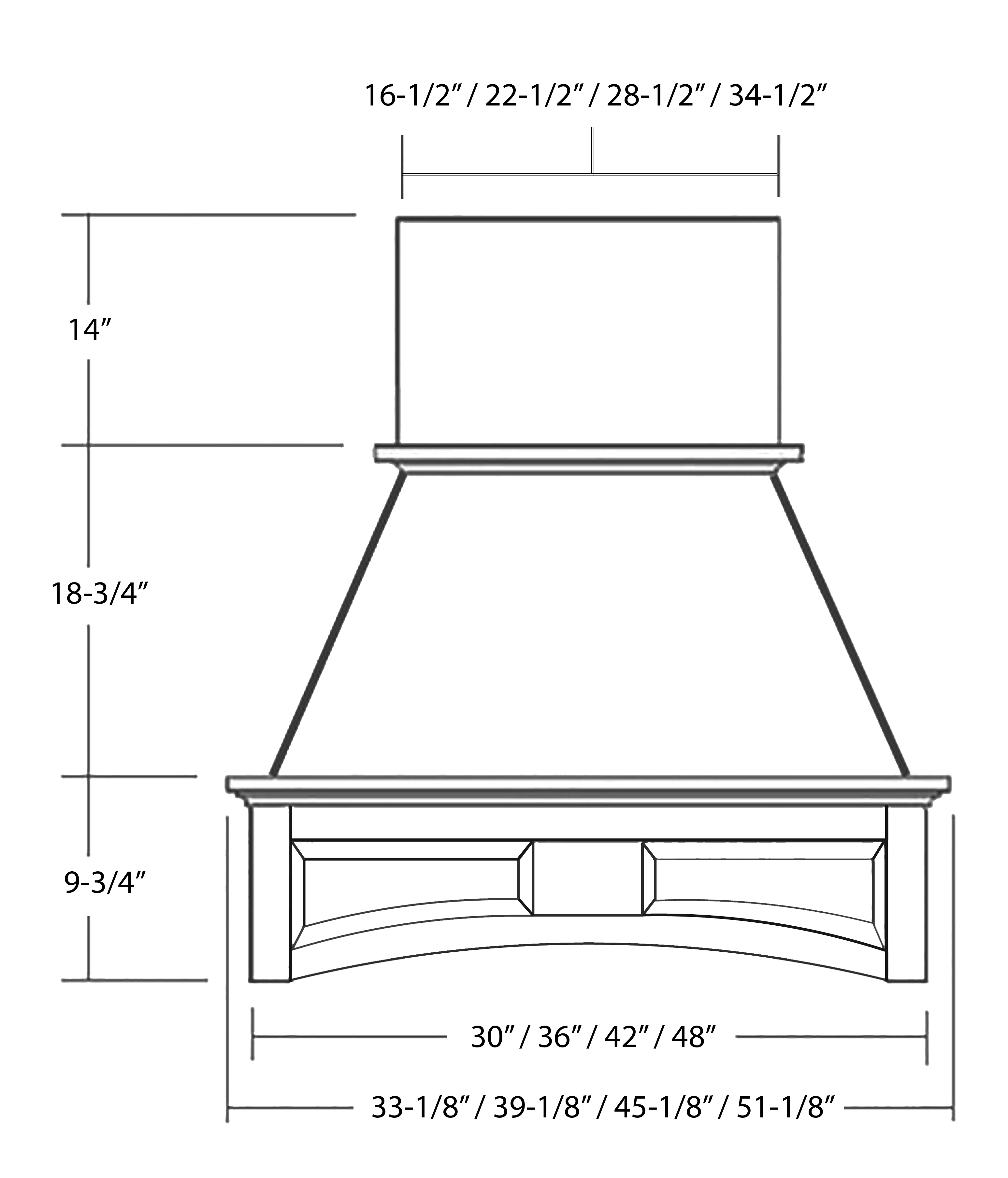 SY-WCHAP WALL HOOD ( STANDARD) front view