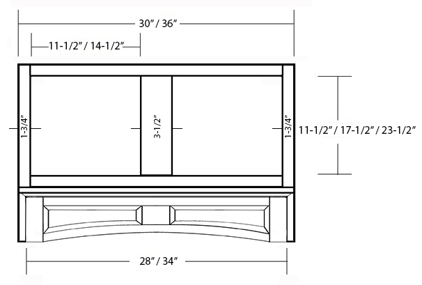 SY-JAVHF ARCHED RAISED PANEL VALANCE MANTEL HOOD FRONT (front view)