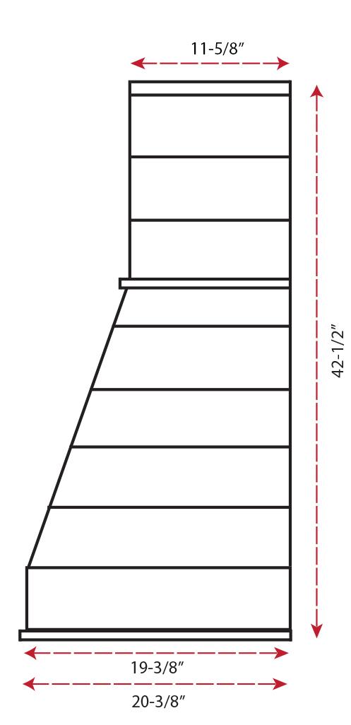 Castlewood Rustic Shiplap Chimney Hood SY-WCSLR (30,36,42,48)- (side view)