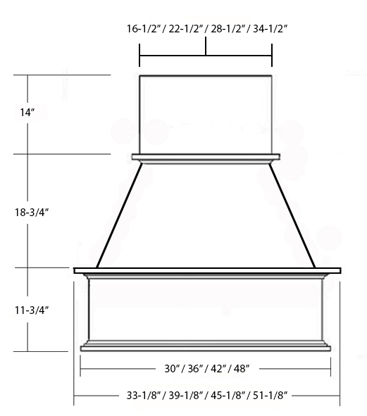 SY-WCH WALL HOOD (STANDARD) front View