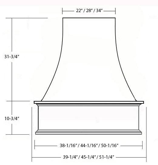 SY-WCVH EPICUREAN CHIMNEY HOOD (front view)