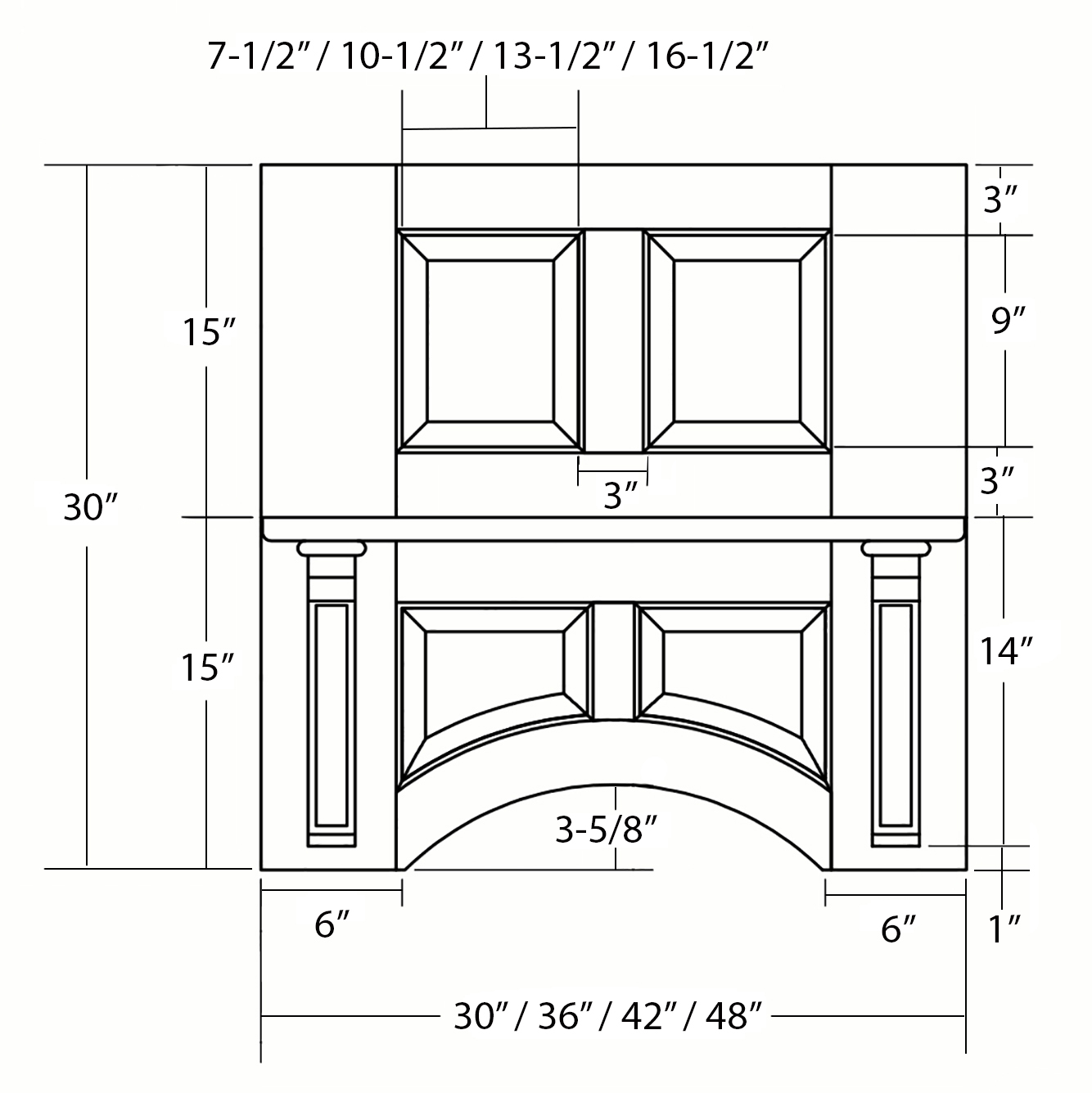SY-WMDP-30 Connoisseur Mantel Hood (front view)