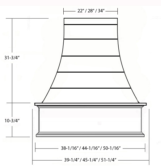 SY-WCVHSL SHIPLAP EPICUREAN CHIMNEY HOOD