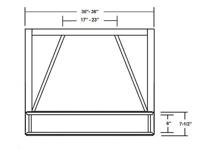 SY-JCHF CHIMNEY STYLE WOOD RANGE HOOD FRONT (front view)