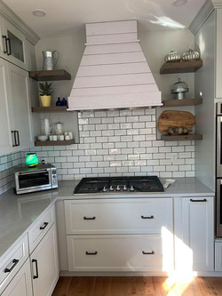 Rustic Shiplap Chimmey Hood - White Wash Painted More Gray