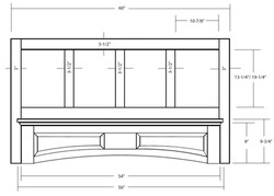 SY-WMHRP 60 MANTLE HOOD WITH ARCHED RAISED PANEL VALANCE (front view)