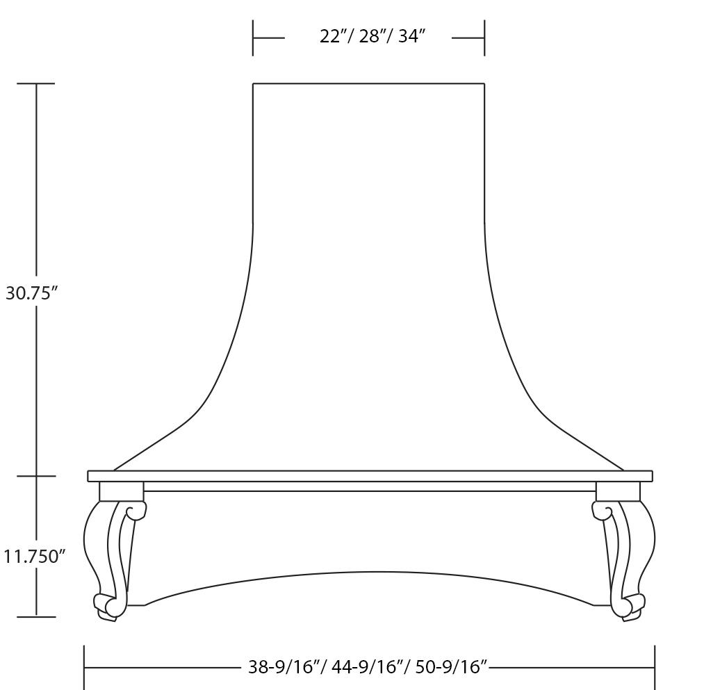 Castlewood Epicurean Arch Corbel Hood SY-WCVAC (front view)