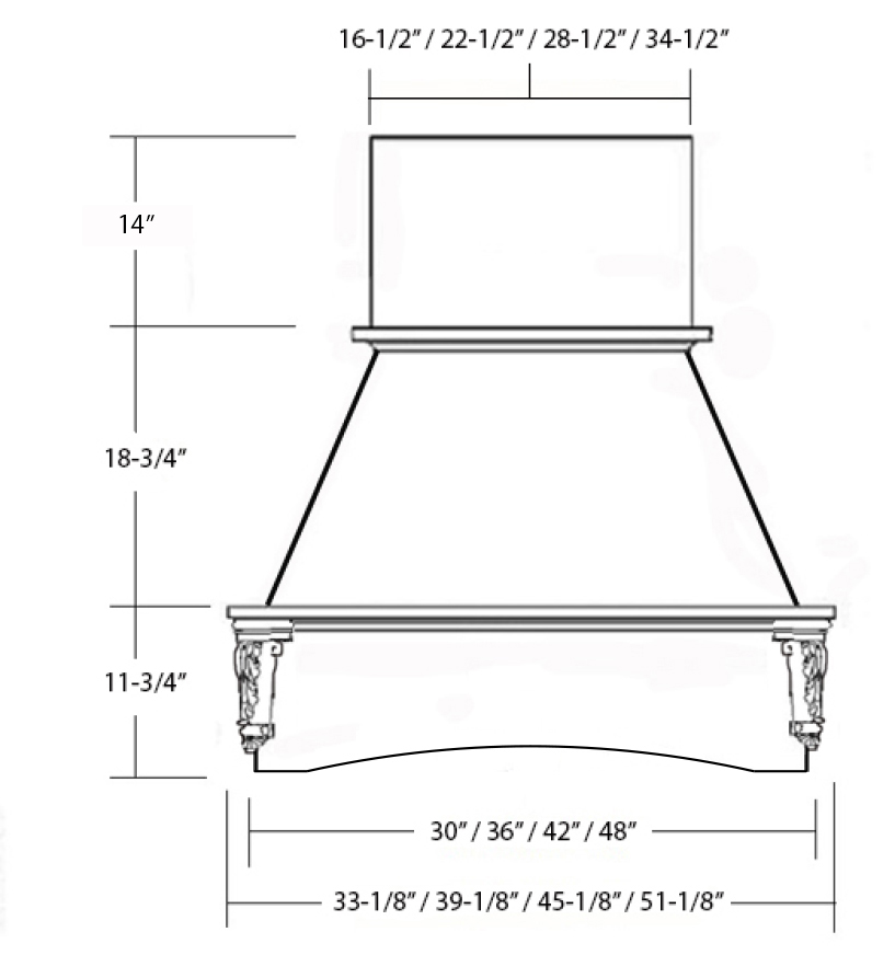 SY-WCHAC WALL HOOD (STANDARD) front view
