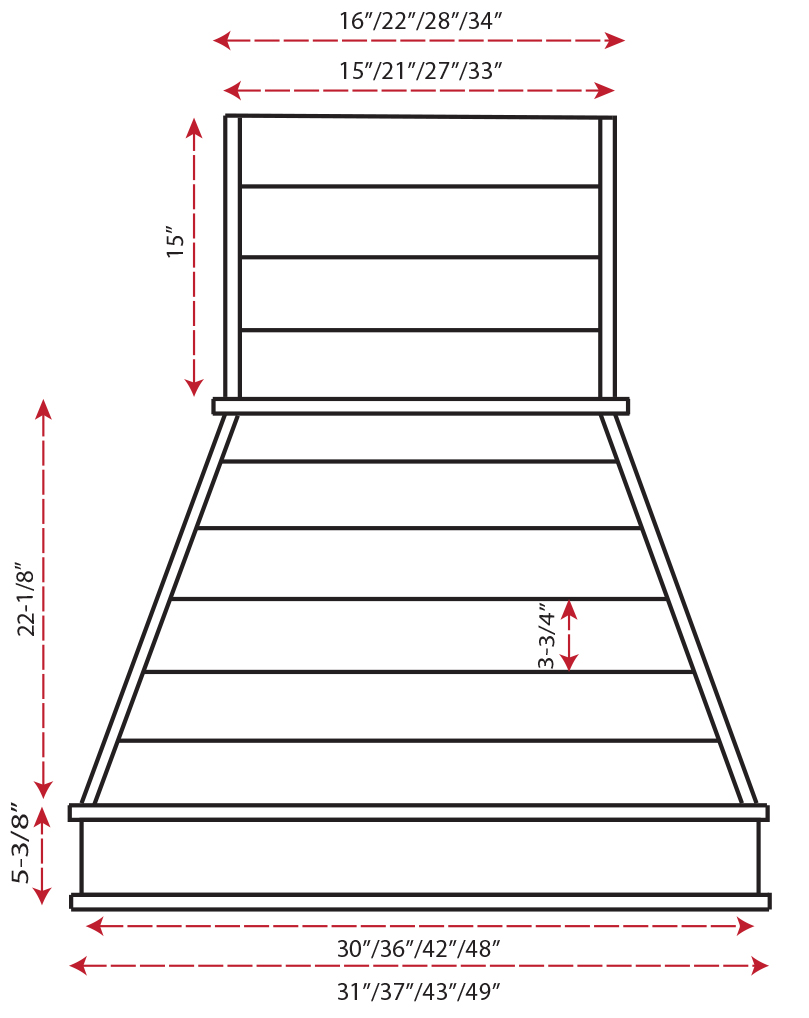 Castlewood Shiplap Chimney Hood SY-WCSL (30,36,42,48) - (front view)