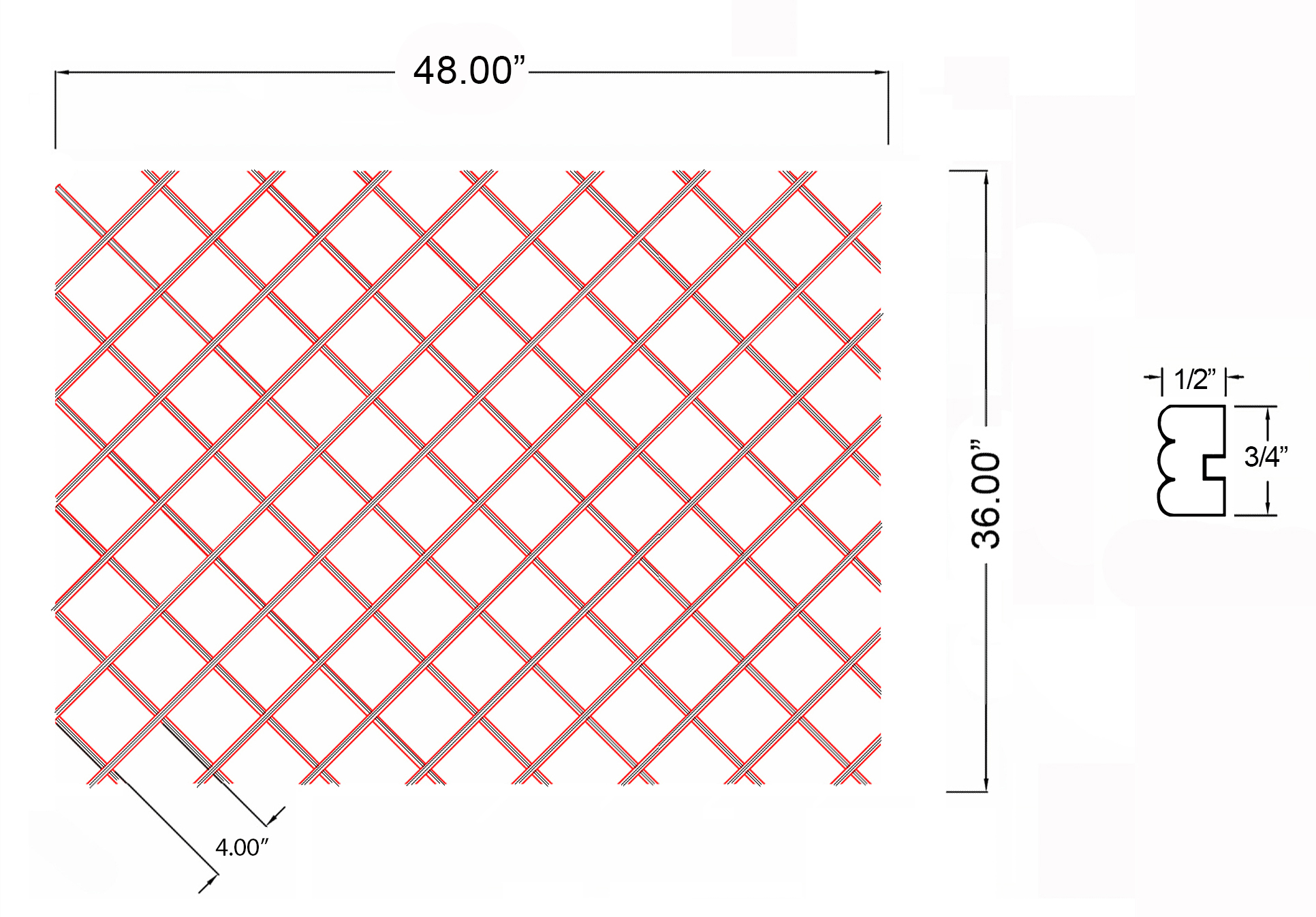 W-WR-BD36X48 Line Drawing