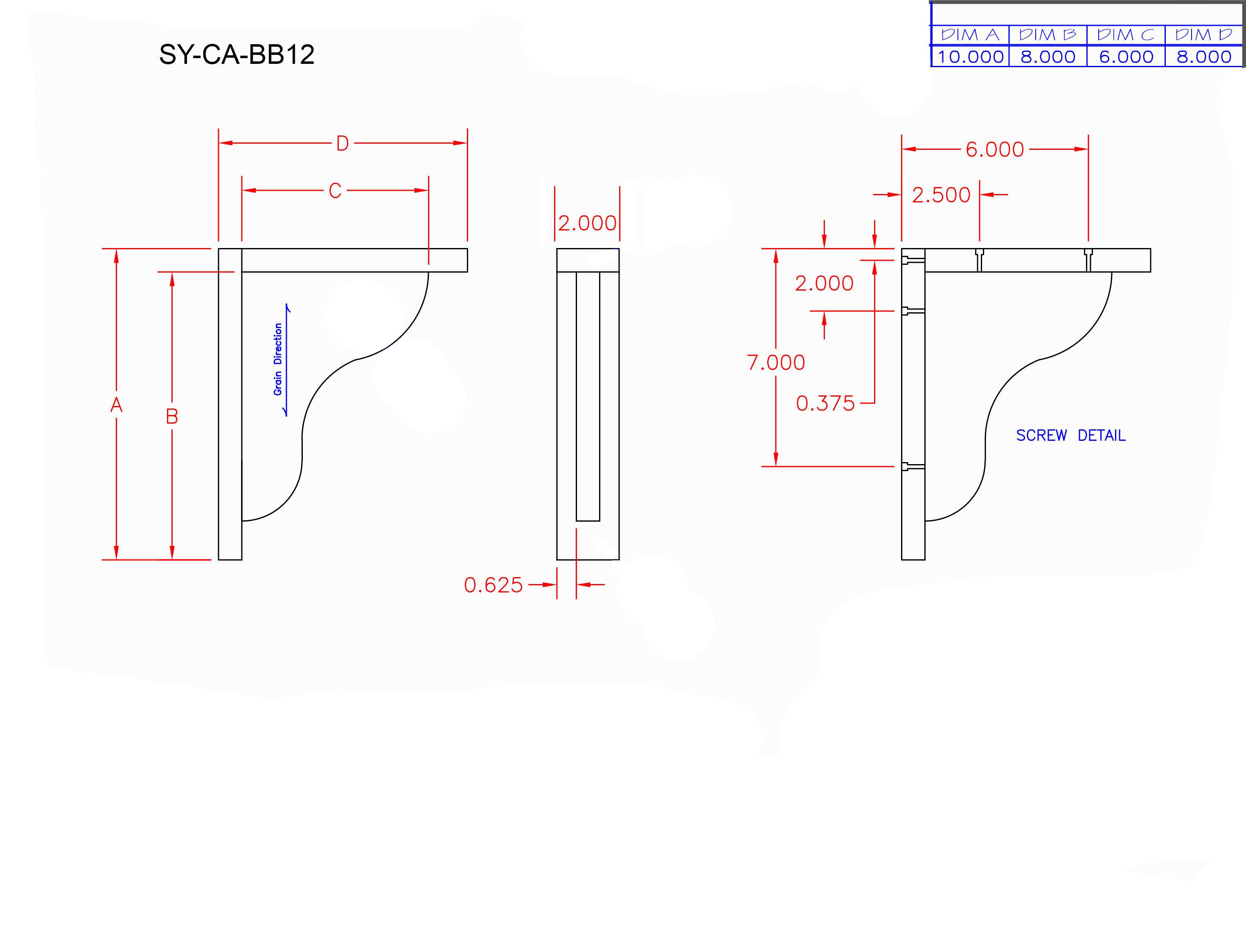 SY-CA-BB12 Line Drawing