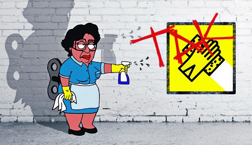 Ursula a Takarító Kommandó (egy budapesti takarító cég) hivatalos kabala-figurája takarítás közben