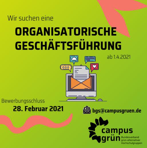 Stellenausschreibung: Organisatorische Geschäftsführung ab 1.4.2021