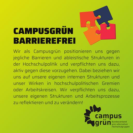 Barrierefreiheit in grünen Hochschulgruppen